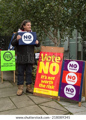 EDINBURGH, SCOTLAND, UK - September 18, 2014 - public expressing their opinion on independence during referendum day in Edinburgh  - stock photo