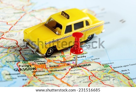 Edinburgh  Scotland  ,United Kingdom  map taxi   and  pin - Travel concept - stock photo