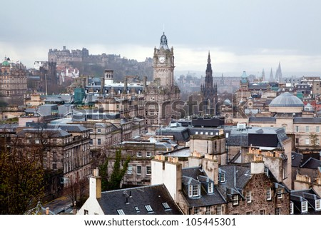 Edinburgh Skylines building and castle from Calton Hill Scotland UK - stock photo