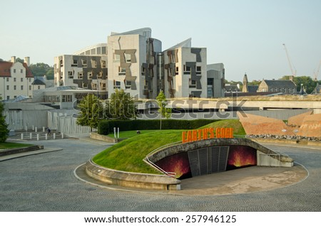 EDINBURGH, UK - SEPTEMBER 11, 2014:  Early evening view from the Dynamic Earth geology museum towards the Scottish Parliament buildings at Holyrood, Edinburgh, Scotland. - stock photo