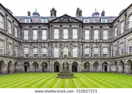 Edinburgh, United Kingdom - August 16, 2014: The internal quadrangle of Holyrood palace. Located at the bottom of the Royal Mile, is the official residence of the British monarch in Scotland