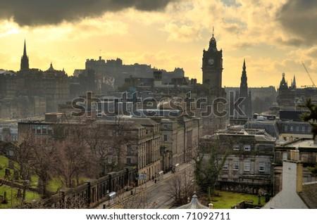 Edinburgh vista from Calton Hill including Edinburgh Castle, Balmoral Hotel and Scott Monument - stock photo