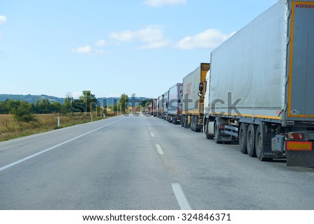 EDIRNE, TURKEY, 03.10.2015: Loaded border queue of cars trucks at the border with Bulgaria, Elhovo