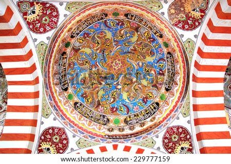 EDIRNE, TURKEY - OCTOBER 02, 2014: Fresco decorating interior of the Selimiye Mosque. Mosque was commissioned by Sultan Selim II, and was built by an architect named Mimar Sinan between 1569 and 1575. - stock photo