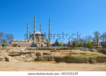 EDIRNE, TURKEY, 02.04.2016:: Selimiye Mosque in Edirne in TurkeyView of the Selimiye Mosque, the masterpiece of  architect Mimar Sinan and one of the highest achievements of Islamic architecture.