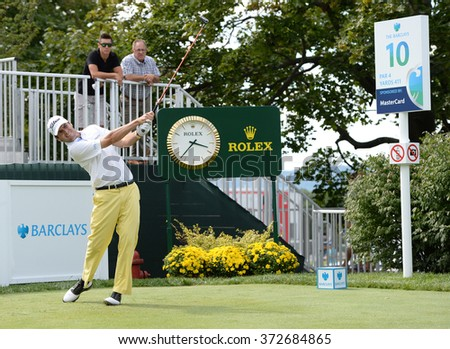 EDISON,NJ-AUGUST 26:Ben Martin watches his shot during the Barclays Pro-Am held at the Plainfield Country Club in Edison,NJ,August 26,2015. - stock photo