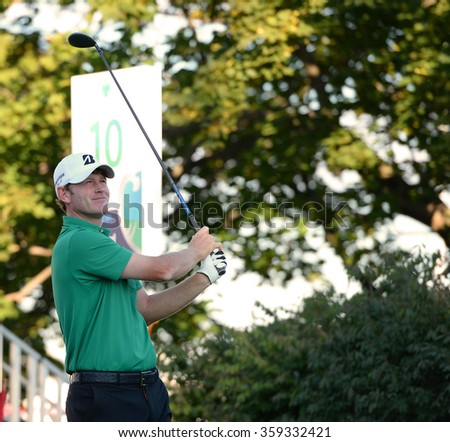 EDISON,NJ-AUGUST 28:Brandt Snedeker watches his shot during the second round of the Barclays Tournament held at the Plainfield Country Club in Edison,NJ,August 28,2015. - stock photo