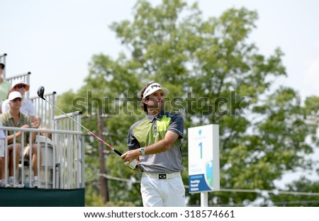 EDISON,NJ-AUGUST 30: Bubba Watson watches his shot from the first tee during the final round of the Barclays Tournament held at the Plainfield Country Club in Edison,NJ,August 30,2015. - stock photo