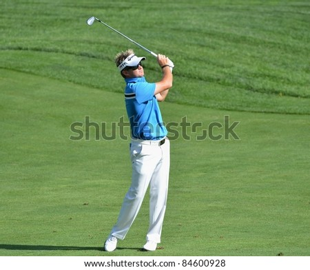 EDISON,NJ-AUGUST 23: Golfer Brian Gay watches his shot during the Barclays practice round held at the Plainfield Country club on August 23,2011,Edison,NJ.