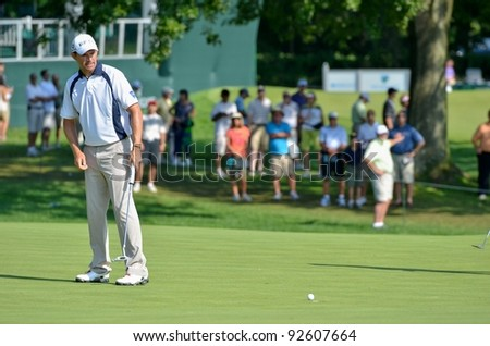 EDISON,NJ-AUGUST 26:Golfer Padraig Harrington watches his putt during the second round of the Barclays Tournament held at the Planfield Country Club on August 26,2011 in Edison,N.J.