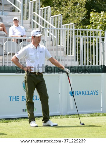 EDISON,NJ-AUGUST 26:Harris English takes a look down the fairway during the Barclays Pro-Am held at the Plainfield Country Club in Edison,NJ,August 26,2015. - stock photo