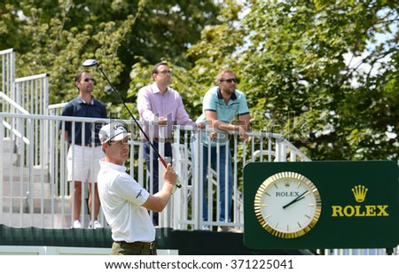 EDISON,NJ-AUGUST 26:Harris English watches hi shot during the Barclays Pro-Am held at the Plainfield Country Club in Edison,NJ,August 26,2015. - stock photo