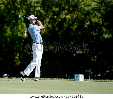 EDISON,NJ-AUGUST 28:Harris English watches his shot during the second round of the Barclays Tournament held at the Plainfield Country Club in Edison,NJ,August 28,2015.
