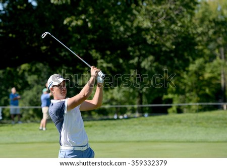 EDISON,NJ-AUGUST 28:Henrik Stenson watches his shot during the second round of the Barclays Tournament held at the Plainfield Country Club in Edison,NJ,August 28,2015. - stock photo