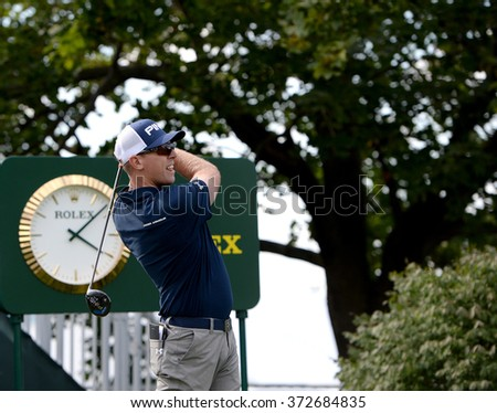 EDISON,NJ-AUGUST 26:Hunter Mahan watches his shot during the Barclays Pro-Am held at the Plainfield Country Club in Edison,NJ,August 26,2015. - stock photo