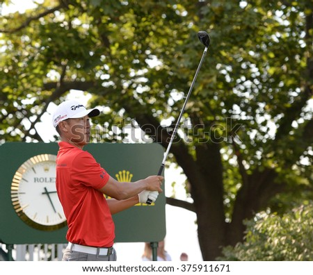 EDISON,NJ-AUGUST 26:James Hahn watches his shot during the Barclays Pro-Am held at the Plainfield Country Club in Edison,NJ,August 26,2015.