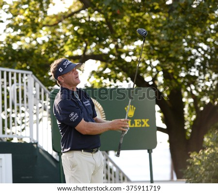 EDISON,NJ-AUGUST 26:Jason Bohn watches his shot during the Barclays Pro-Am held at the Plainfield Country Club in Edison,NJ,August 26,2015. - stock photo