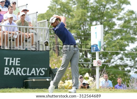 EDISON,NJ-AUGUST 30:Jason Day takes his shot from the 1st Tee during the final round of the Barclays Tournament held at the Plainfield Country Club in Edison,NJ,August 30,2015.