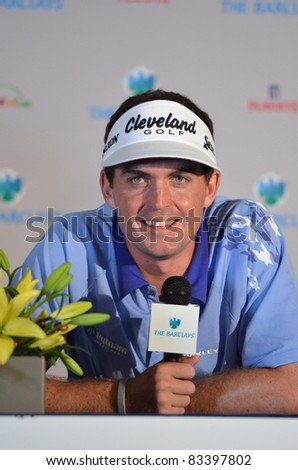 EDISON,NJ-AUGUST 23: Keegan Bradley answers questions from the press at the Barclays 2011 Pre-tournament press conference. Edison, NJ, August 23, 2011 - stock photo