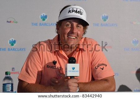 EDISON,NJ-AUGUST 24: Phil Mickelson answers questions from the press at the Barclays 2011 Pre-tournament press conference. Edison,NJ,August 24,2011 - stock photo