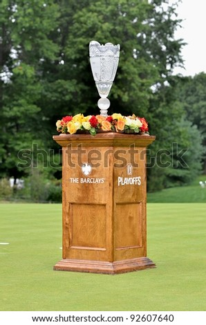 EDISON,NJ-AUGUST 27 The Barclays Trophy at the 18th hole ready to be presented to Dustin Johnson winner of the Barclays  Tournament held at the Plainfield Country Club on August 27,2011 in Edison,N.J. - stock photo