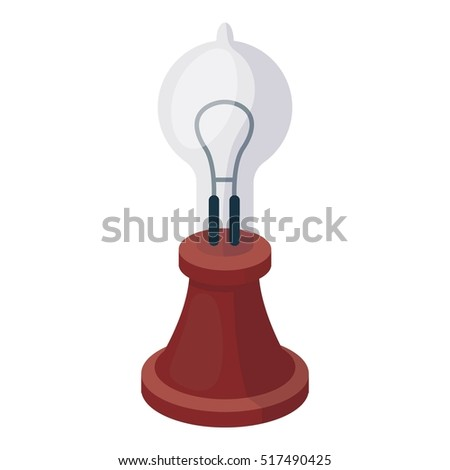 Edison's lamp icon in cartoon style isolated on white background. Light source symbol stock rastr illustration