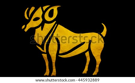 Edit background by software/The Aries sign of horoscope on the wall temple - stock photo