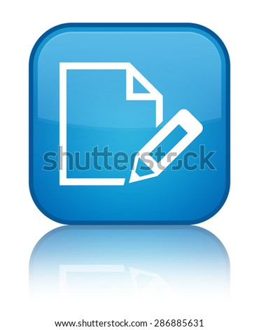 Edit document icon cyan blue square button