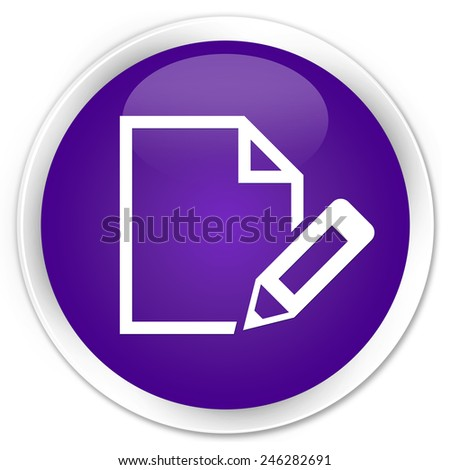 Edit document icon purple glossy round button