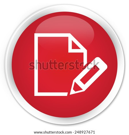 Edit document icon red glossy round button