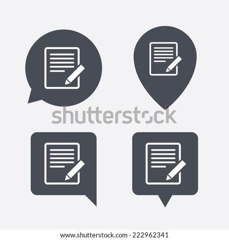 Edit document sign icon. Edit content button. Map pointers information buttons. Speech bubbles with icons. - stock photo