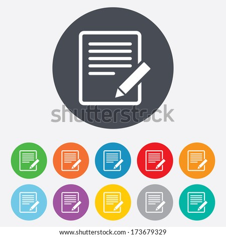Edit document sign icon. Edit content button. Round colourful 11 buttons. - stock photo