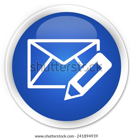 Edit email icon blue glossy round button - stock photo