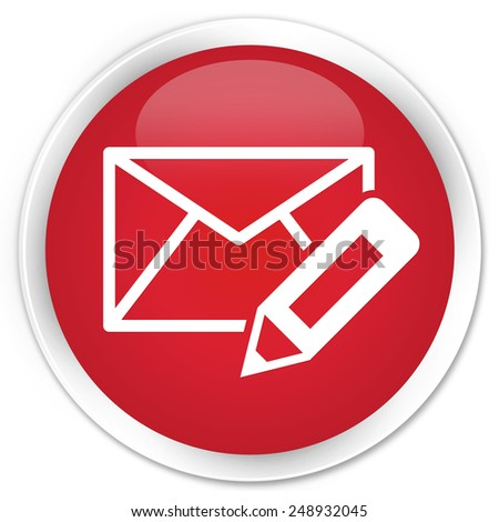 Edit email icon red glossy round button - stock photo