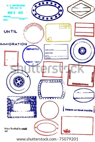 Editable Blank Passport Stamps - stock photo
