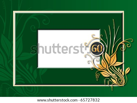 Editable illustration of a green and golden congratulations card for 60th anniversary, jubilee, wedding or birthday