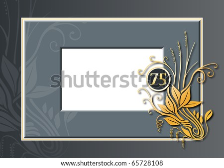 Editable illustration of a red and golden congratulations card for 75th anniversary, jubilee or birthday - stock photo