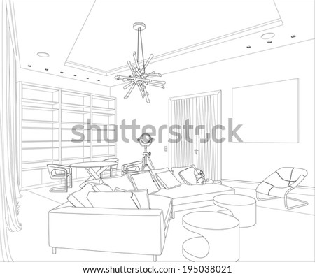 Editable illustration of an outline sketch of a interior. 3D Graphical drawing interior - stock photo