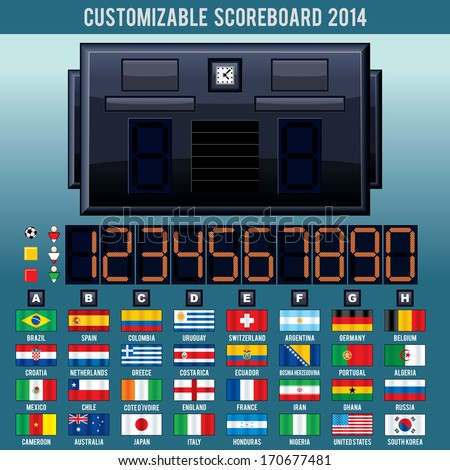 Editable Soccer Scoreboard 2014 - stock photo