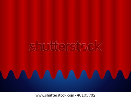 Editable vector background - Closed red curtain - stock photo