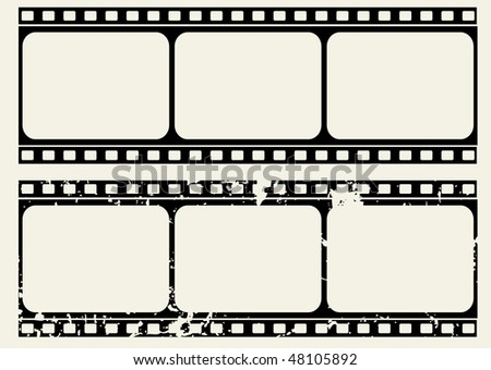 Editable vector film frame  - Normal and grunge textured version - stock photo