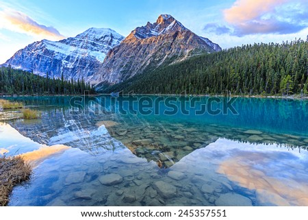 Edith  Cavell Lake, Alberta, Canada - stock photo