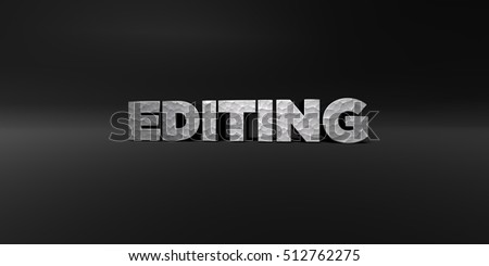 EDITING - hammered metal finish text on black studio - 3D rendered royalty free stock photo. This image can be used for an online website banner ad or a print postcard.