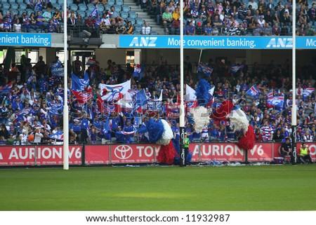 Editorial,Australian rules football Western bulldogs cheer squad - stock photo