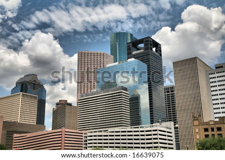 Editorial: Blue Skies over Downtown Houston, Texas, USA(Release Information: Editorial Use Only. Use of this image in advertising or for promotional purposes is prohibited.) - stock photo
