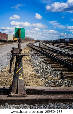 Editorial - Farnam, Quebec, Canada. April 12th 2014. Rail road detail during a hot sping day in Farnam Qc. - stock photo