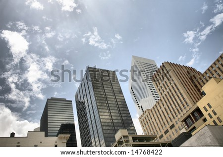 Editorial: Houston Skyline(Release Information: Editorial Use Only. Use of this image in advertising or for promotional purposes is prohibited.) - stock photo