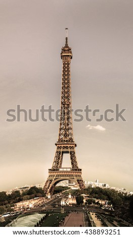 Editorial,13th May 2016:  Paris, France. Eiffel tower sunset view on blue sky background