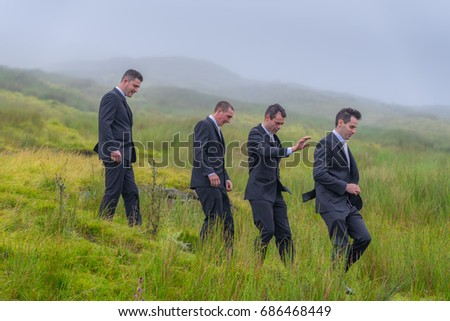 Editorial use only; a groom and groomsmen at Ballinaglera, Co. Leitrim, Ireland, taken on July 15th, 2017.