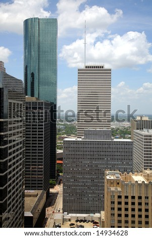 Editorial Use Only: Houston Skyline(Release Information: Editorial Use Only. Use of this image in advertising or for promotional purposes is prohibited.) - stock photo